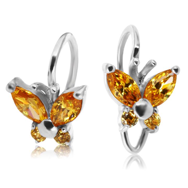 Золотые сережки бабочки для девочки с цитрином «Little Miss»