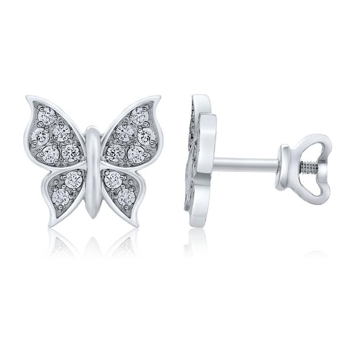 Золотые серьги пусеты для девочки с фианитами «Бабочки»