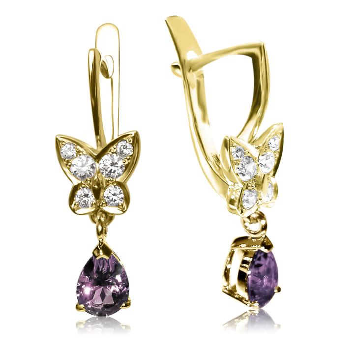 Золотые серьги с бриллиантами и аметистами «Butterfly»