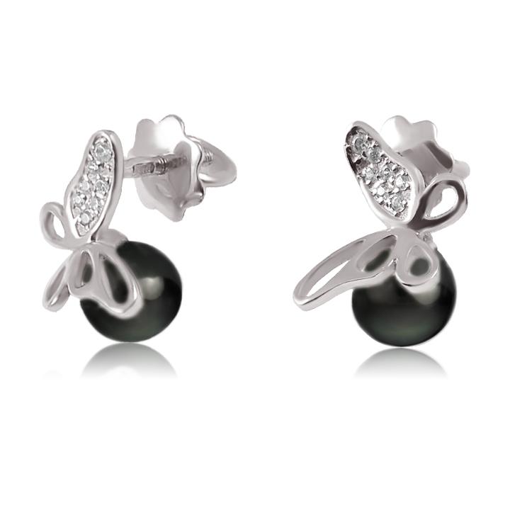 Золоті сережки пусети «Перлові метелики»