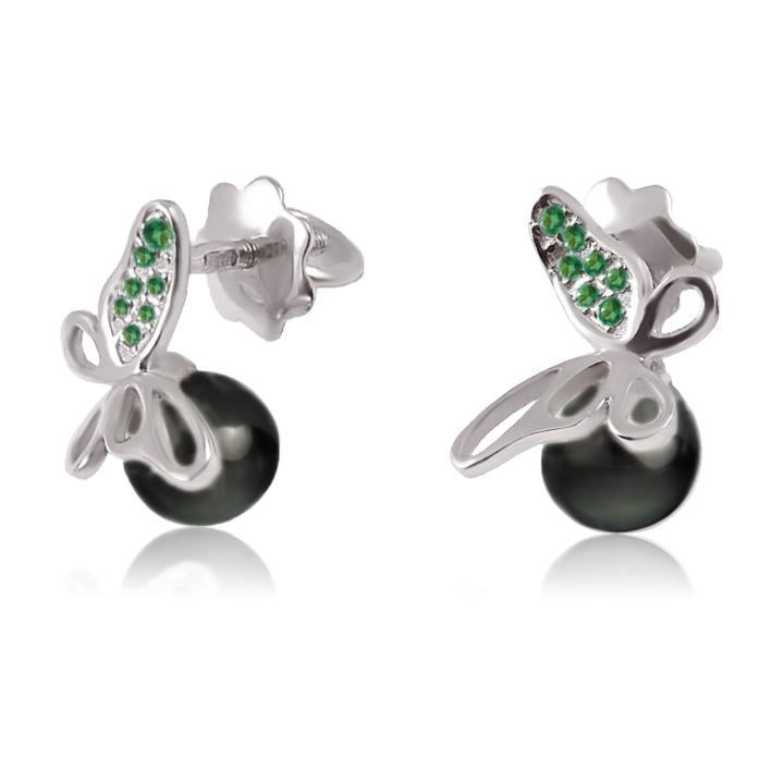 Золоті сережки з перлами і смарагдом «Перлові метелики»