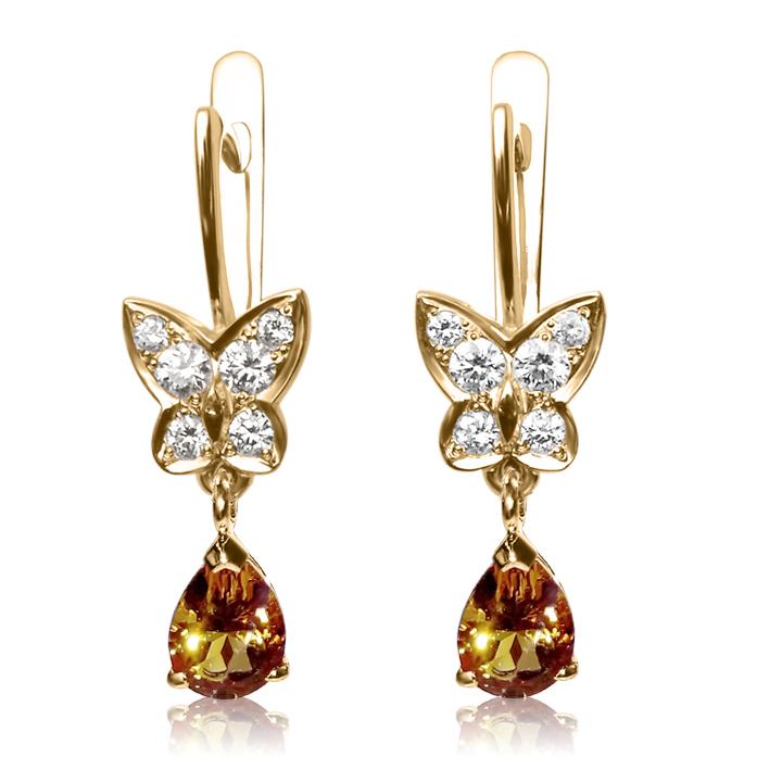 серьги Цитрин и бриллианты