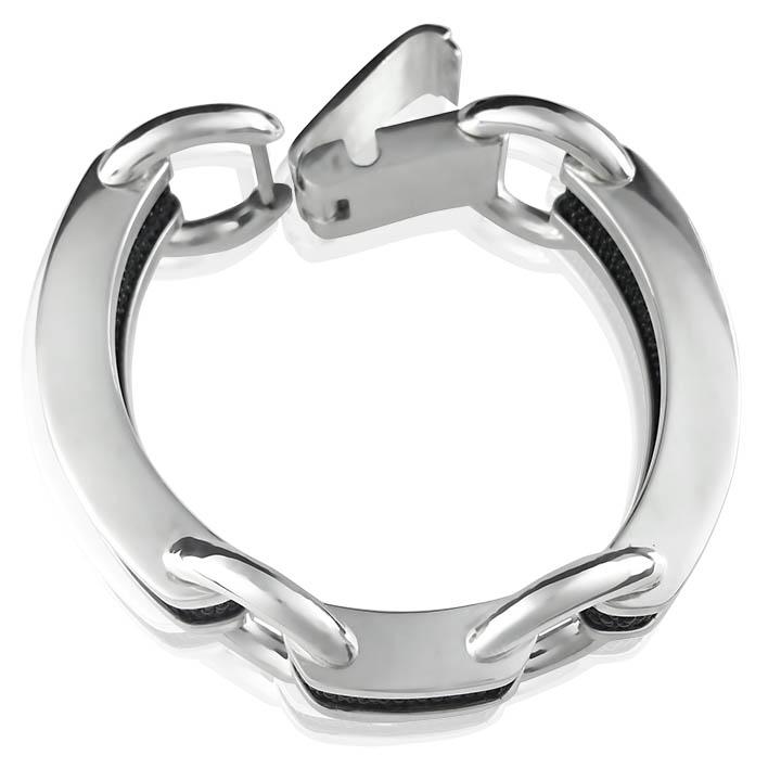 Срібний жіночий браслет зі шкірою ската «Амфора»