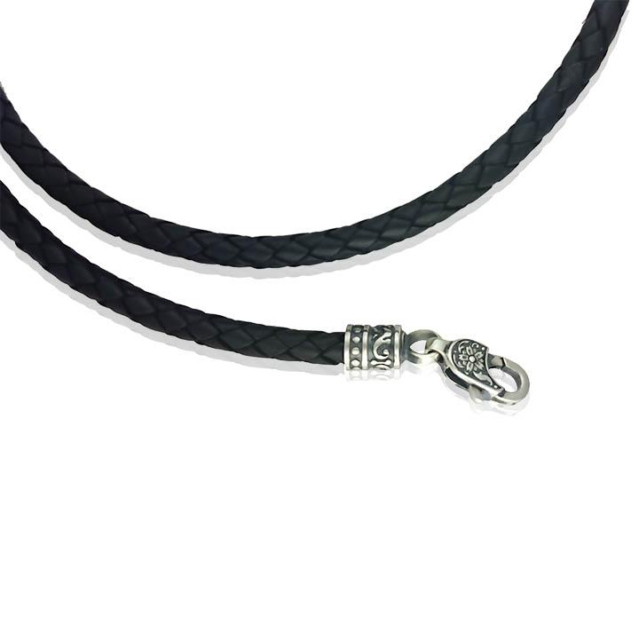 Каучуковий шнурок зі срібною застібкою