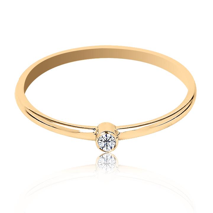Золотое кольцо для помолвки с бриллиантом «Гелла»