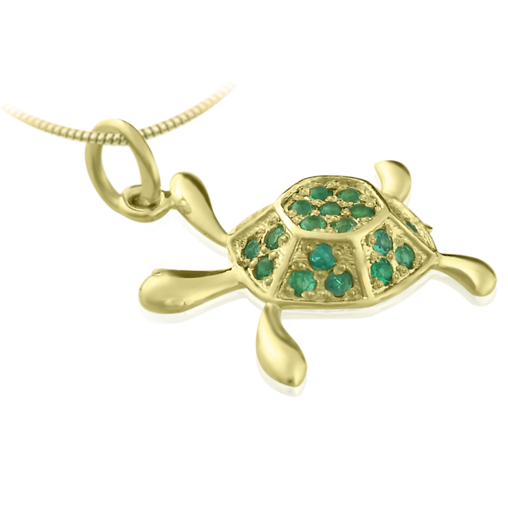 Золотая подвеска «Изумрудная черепаха»