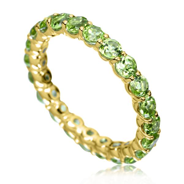 Золотое кольцо с хризолитами «Marmalade»
