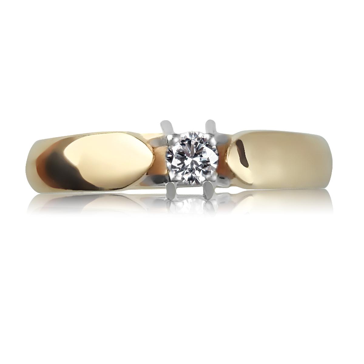 Золота каблучка на заручини діамантом 0,10 Ct «Луїза»