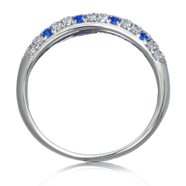 Золотое кольцо с сапфирами и россыпью брилиантов «Monpasie»