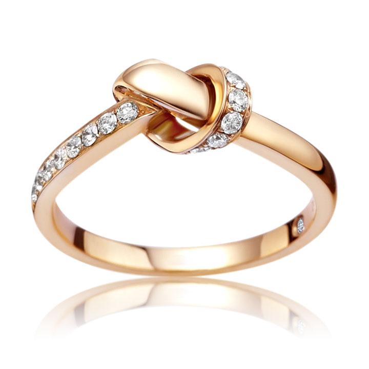 Кольцо с бриллиантом на внутренней поверхности «Узел страсти»