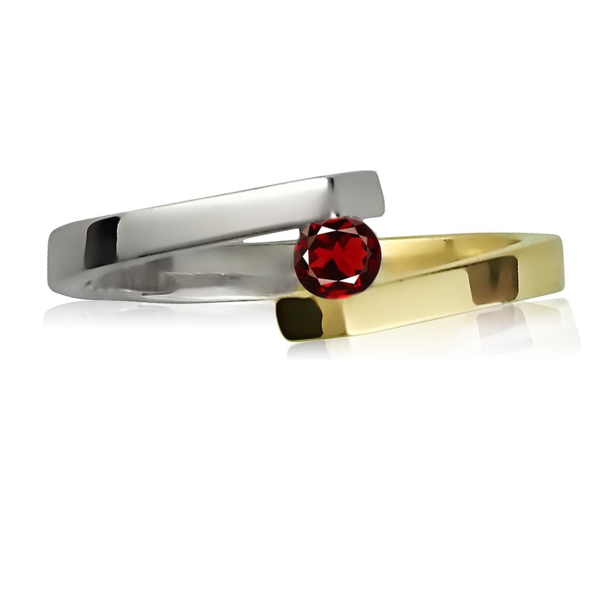 Каблучка із комбінованого золота з гранатом «Аннет»
