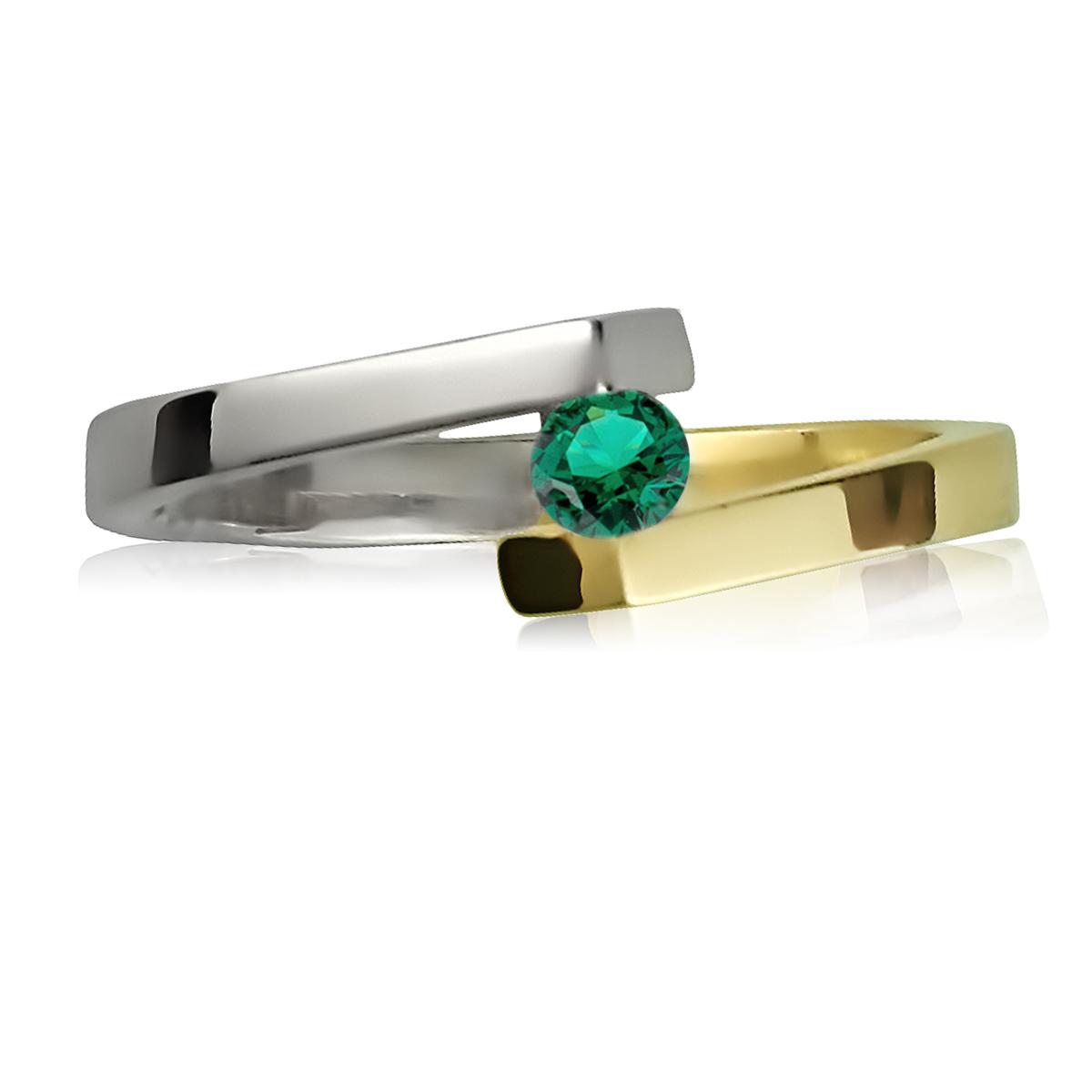 Золоте кільце для заручин з смарагдом 3 мм «Аннет»
