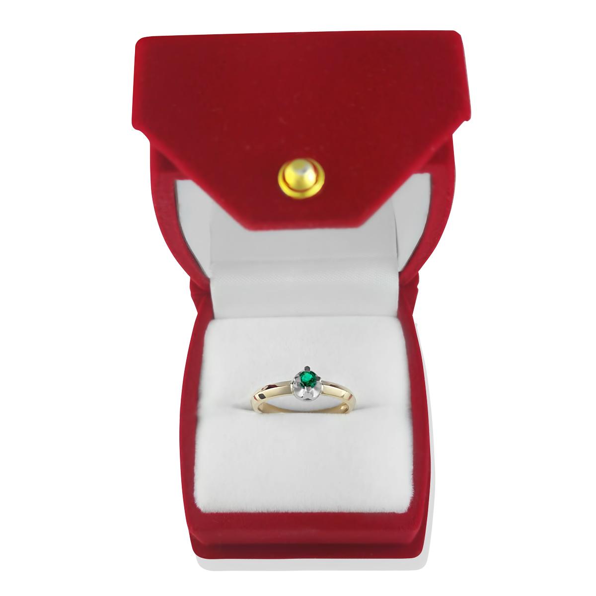 Золоте кольцо для заручин з смарагдом 0.06 Ct «Софі»