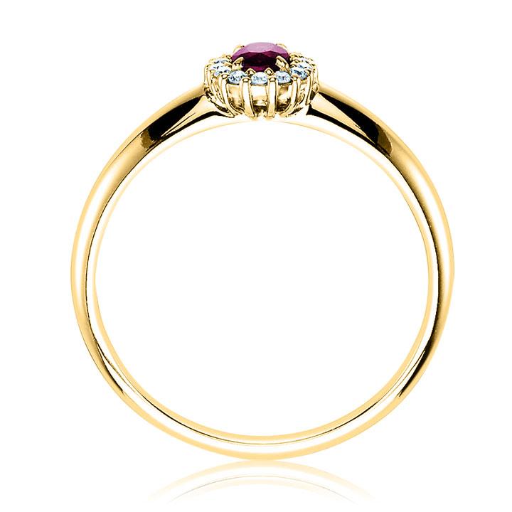 Золотое кольцо на помолвку с рубином и бриллиантами «Candy»