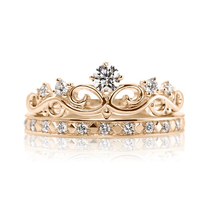 Золотое кольцо двойное с бриллиантами «Корона»