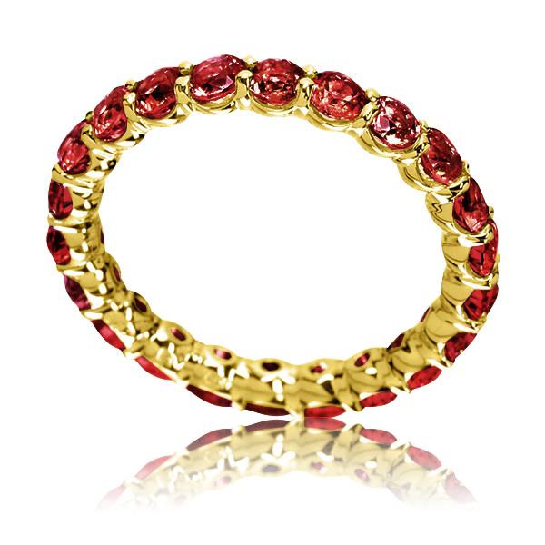 Золота каблучка з гранатами «Marmalade»