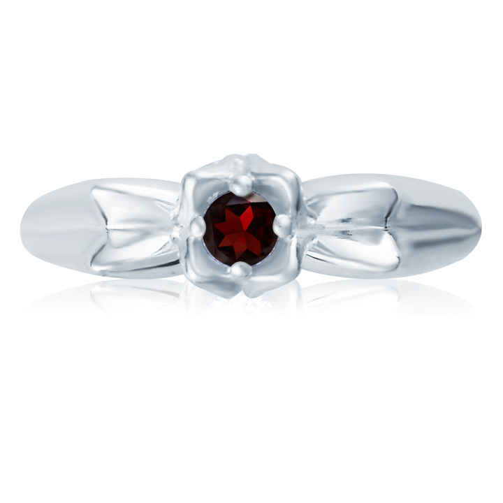 Кольцо-роза для помолвки с гранатом «Bella rosa»