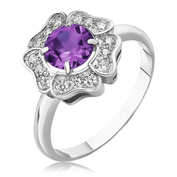 Золотое кольцо цветок с аметистом «Flower»
