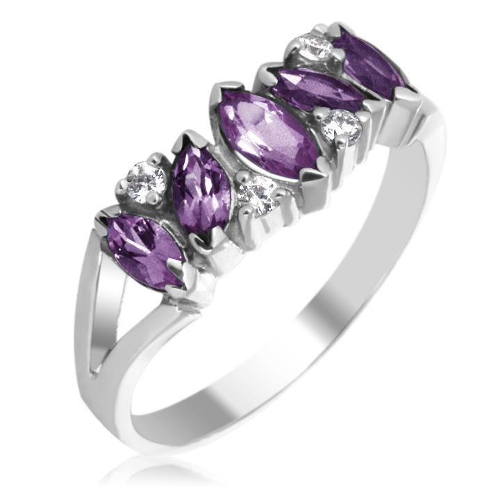 Золотое кольцо с аметистами и камнями Сваровски «Кимберли»