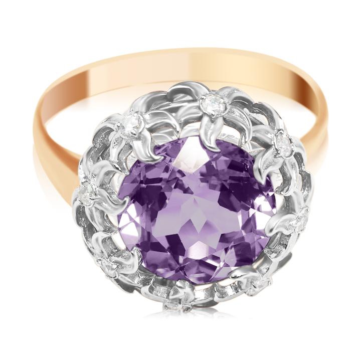 Золотое кольцо с аметистом «Reveal»