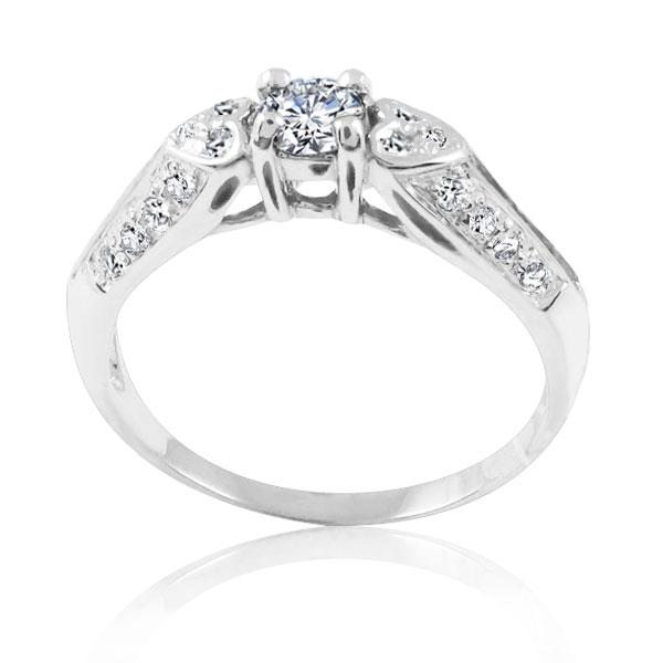 Кольцо на помолвку с сердечками и бриллиантом 0,25 Ct «Белое сердце»