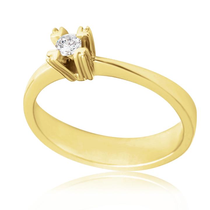 Золотое кольцо с бриллиантом 0.08 на помолвку «Берта»