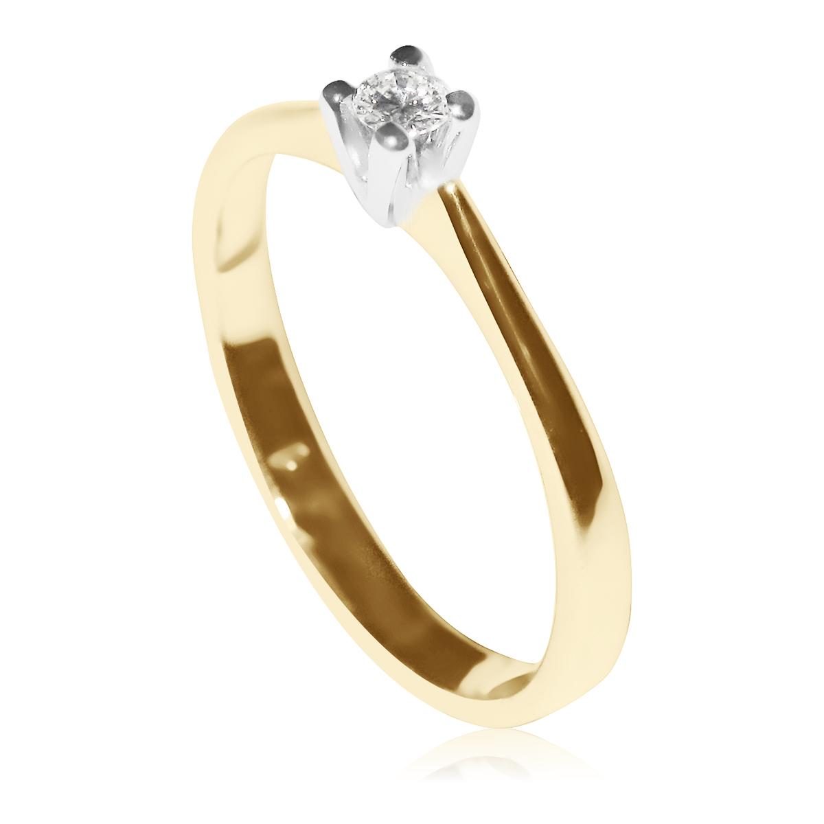 Золотое кольцо на помолвку с небольшим бриллиантом 0,06 Ct «Femina»