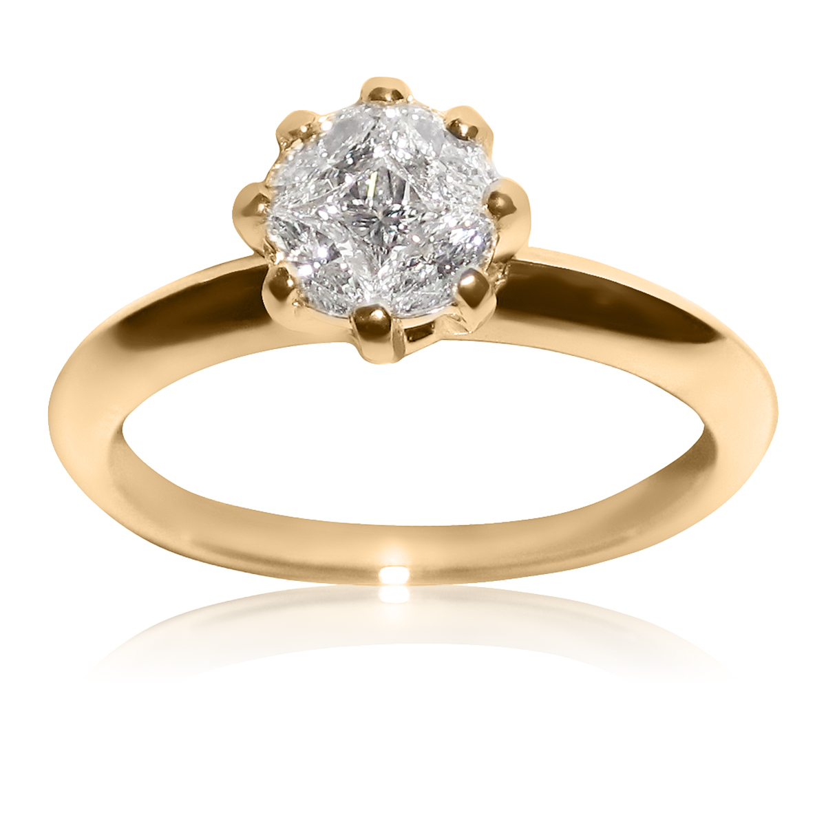 Елітне кольцо на заручини з 5 діамантами «Touch of love»