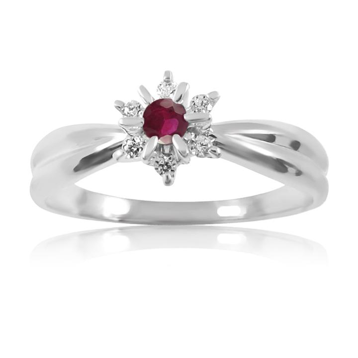 Золоте кольцо з рубіном і діамантами «Франсуаза»