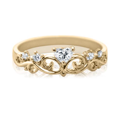 Золотое кольцо с цирконием «Корона-Сердце»
