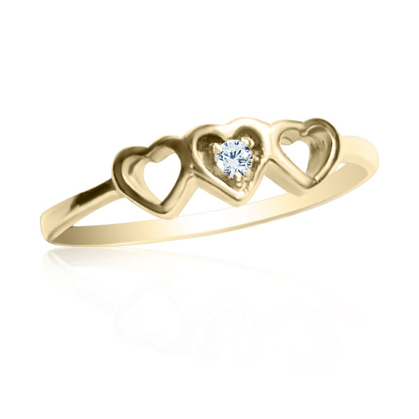 Золотое кольцо с цирконием «Три сердечка»