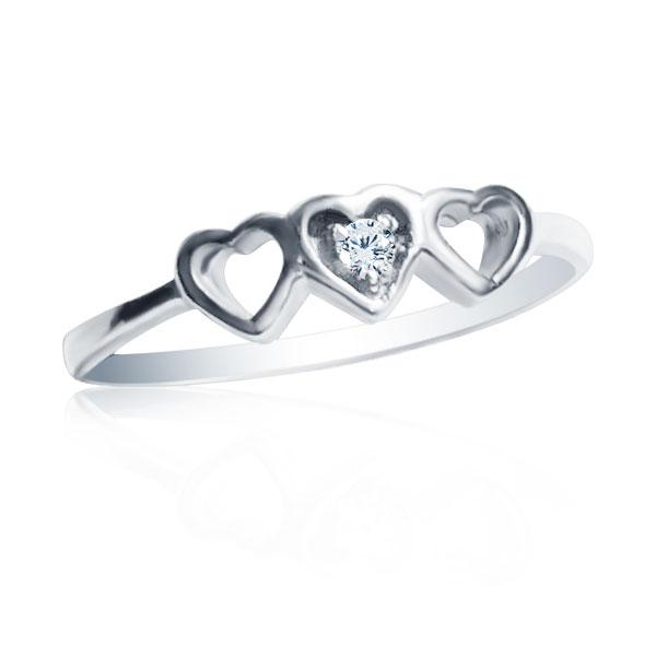 Золотое кольцо с цирконом «Три сердечка»