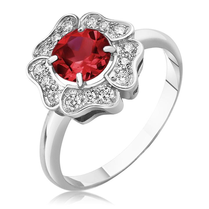 Золотое кольцо цветок с гранатом «Flower»