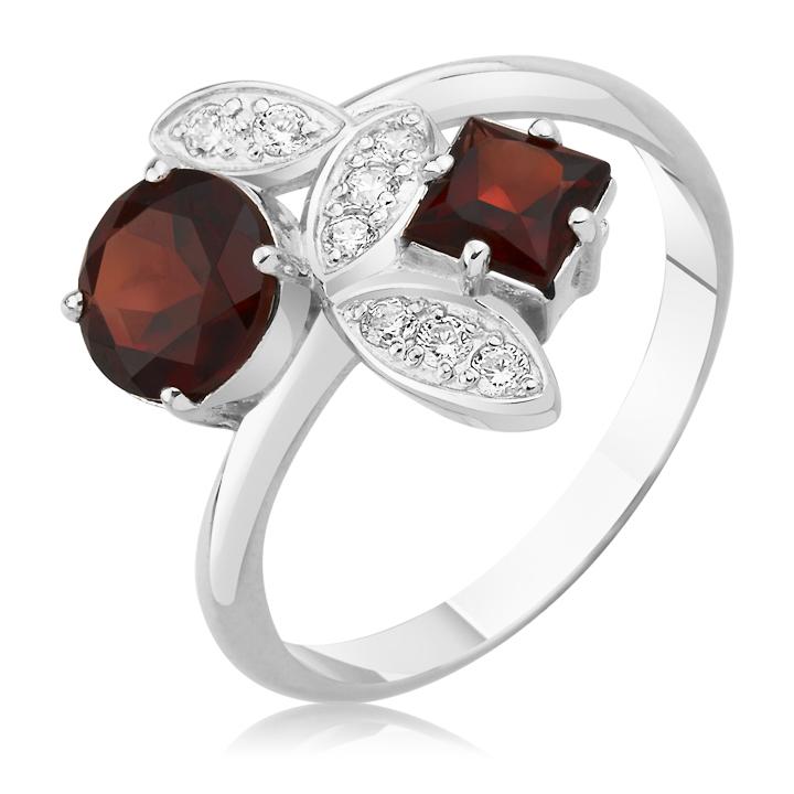 Золотий перстень з квадратним та круглим гранатом  «Таємниця красуні»