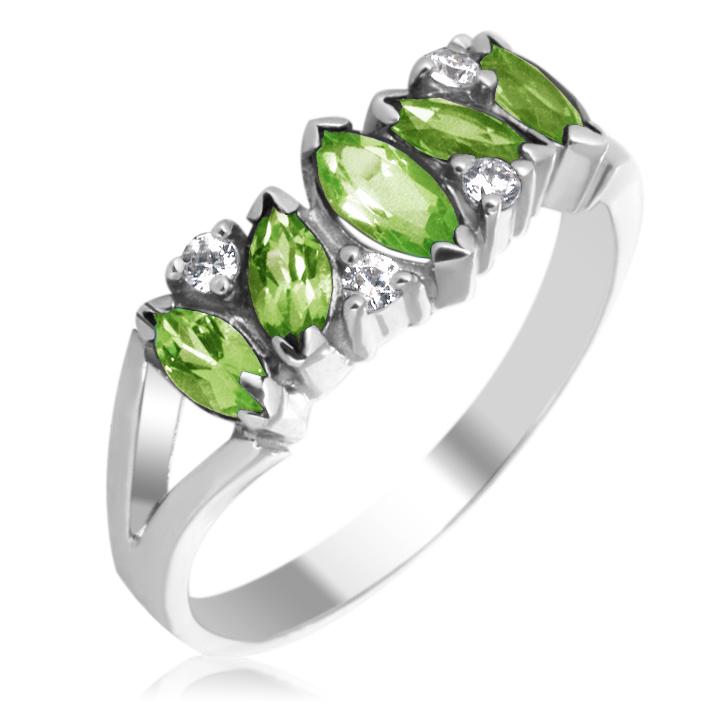 Золотое кольцо с хризолитами и кристаллами Сваровски «Кимберли»