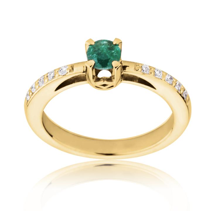 Золоте кільце з смарагдом і діамантами «Твіст»