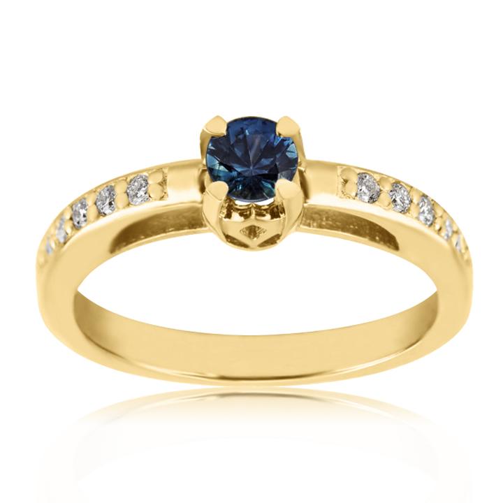 Золота каблучка з сапфіром та доріжкою діамантів «Елеонора»
