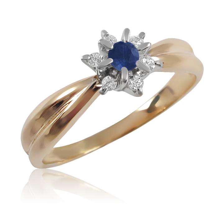 Золота каблучка з сапфіром і діамантами «Франсуаза»