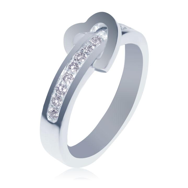 Кольцо с сердцем и дорожкой бриллиантов «Anastasy»