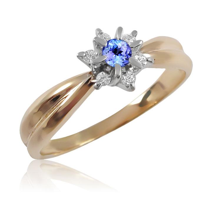 Золотое кольцо с танзанитом и бриллиантами «Франсуаза»