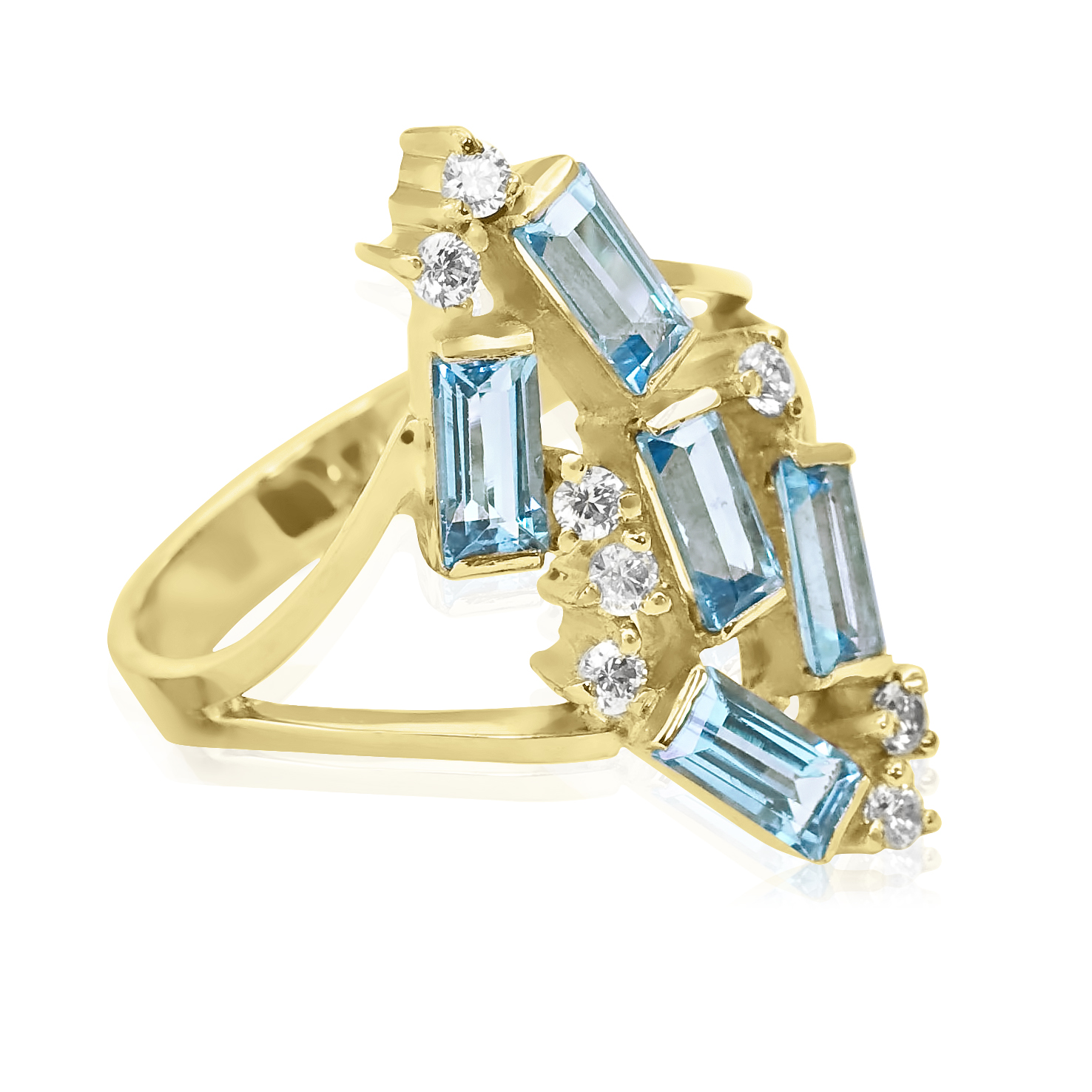 Елітне кольцо з прямокутними топазами «Полярне сяйво»