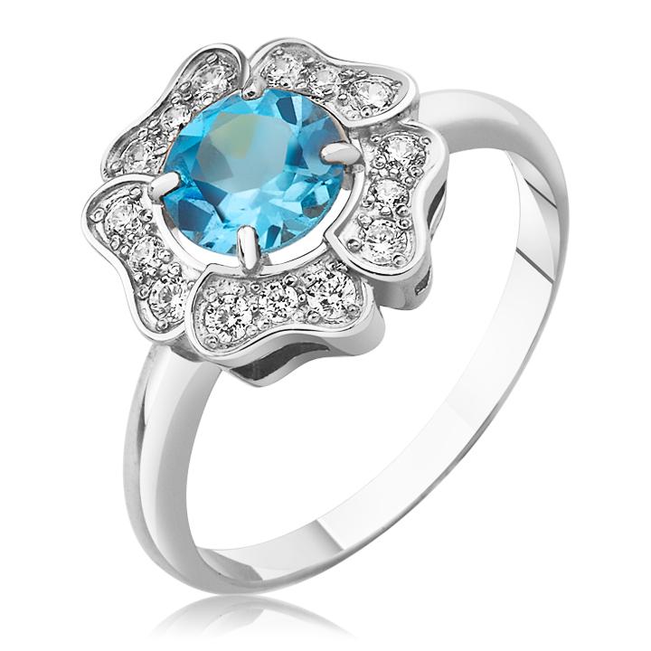 Золотое кольцо цветочек с голубым топазом «Flower»