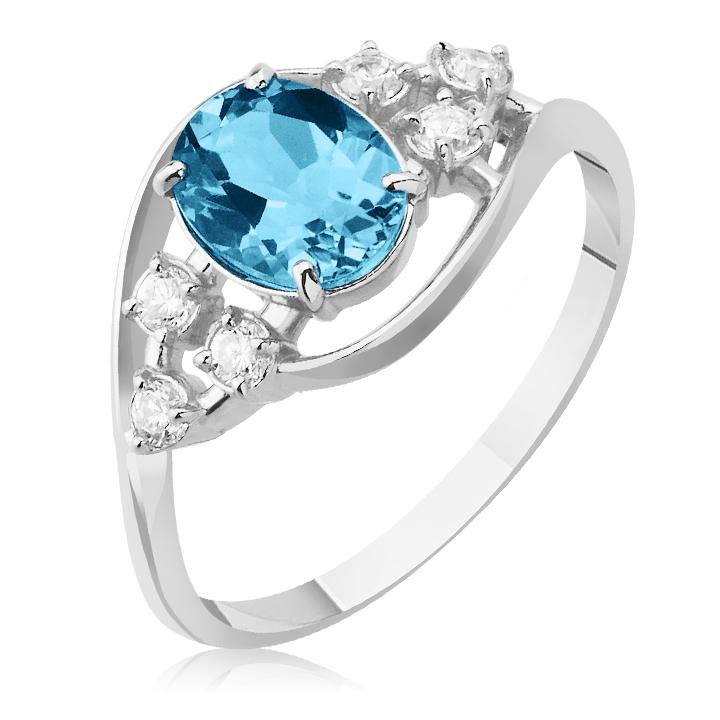 Золоте кольцо з топазом і цирконієм «Повітряний поцілунок»