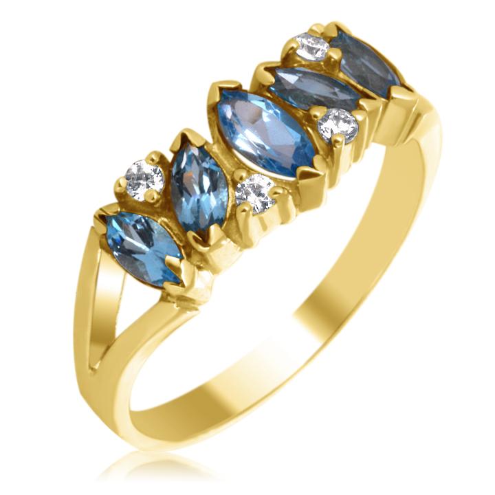 Золотое кольцо дорожка с топазами «Кимберли»