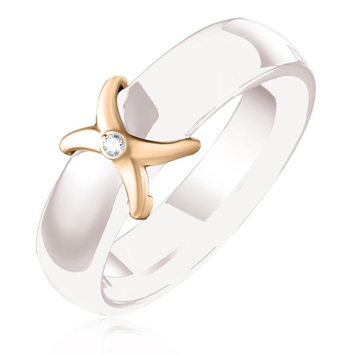 Керамическое кольцо с золотой вставкой и бриллиантом «Мадам Икс»