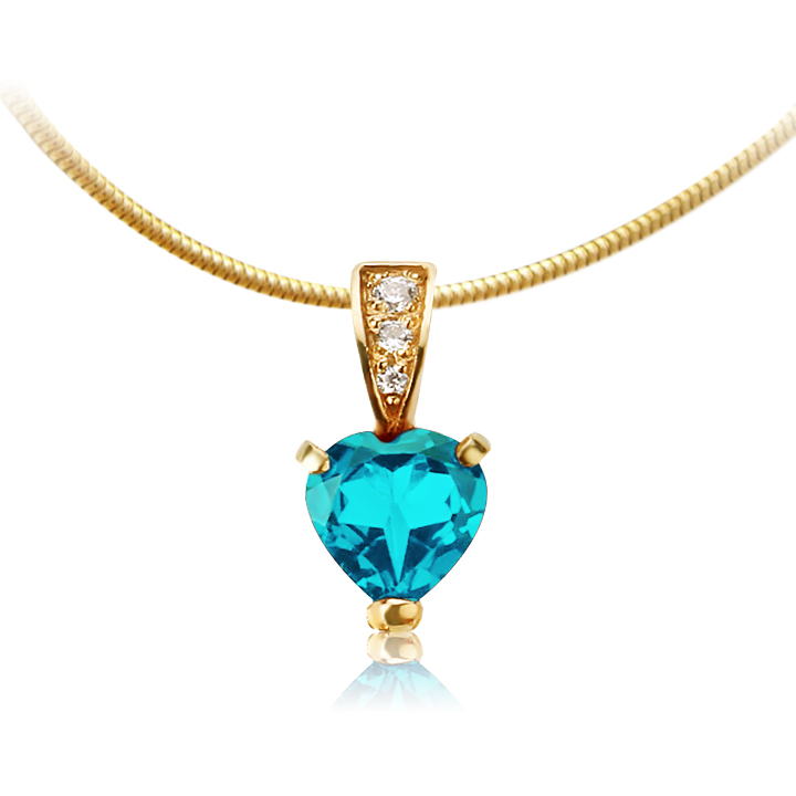 Золотий кулон серце з топазом «Loving Heart»