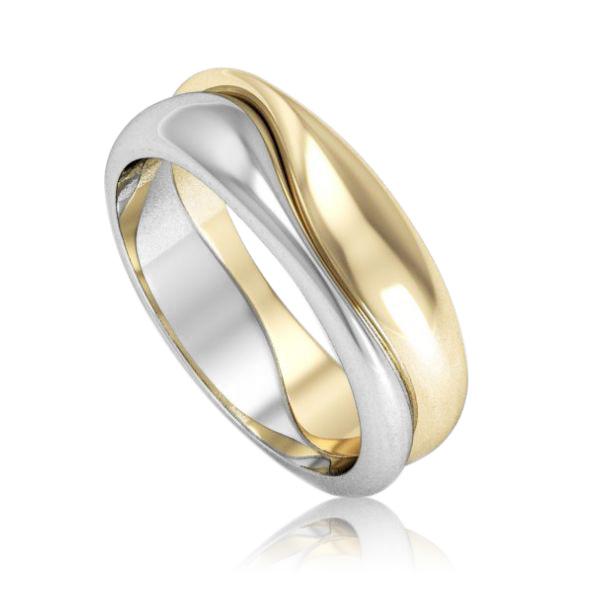 Золота обручка з двох кольорів золота «Дарую любов»