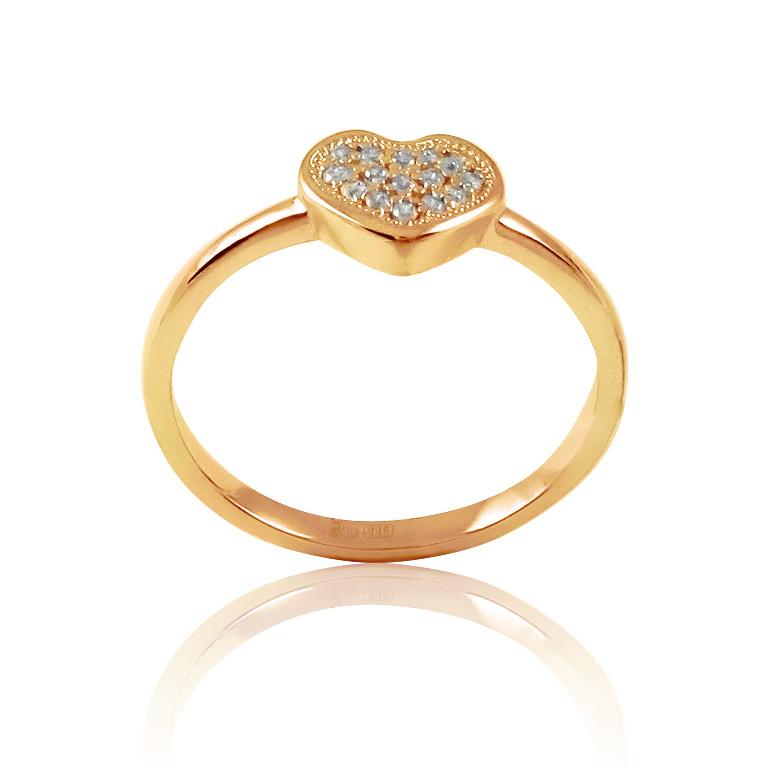 Недорогое кольцо сердце с фианитами «L'amour»