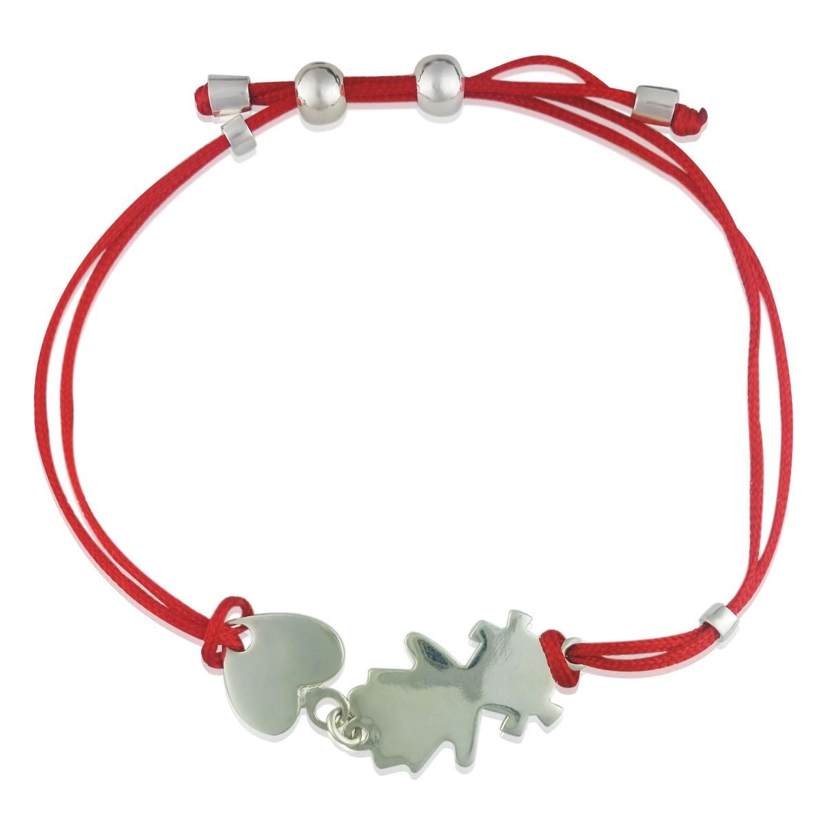 Золотий браслет для мами «Дівчинка з сердечком» з червоною ниткою