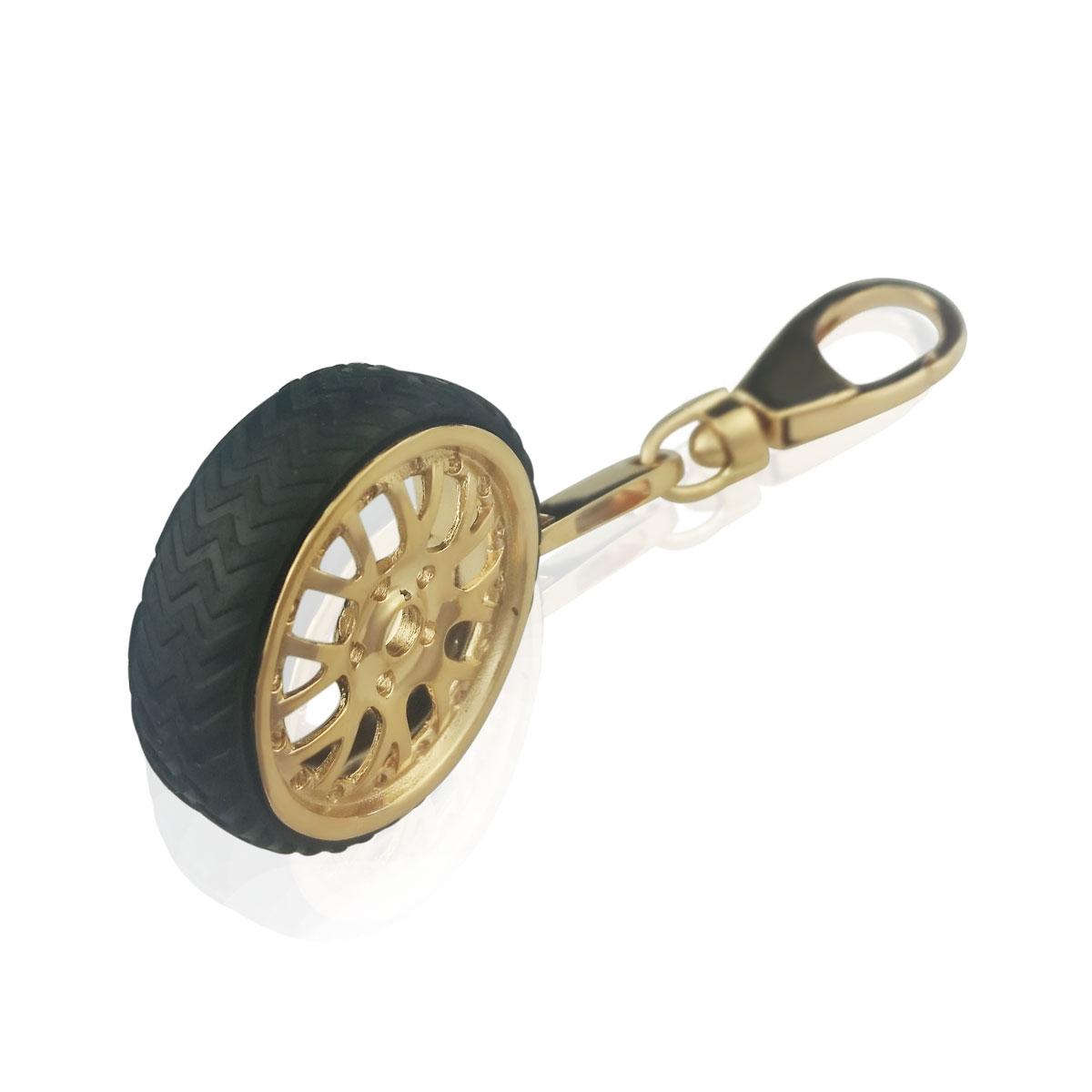 Золотой брелок «Колесо» с резиновой шиной